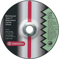 Metabo 655726000 4-1/2 x 1/4 x 5/8-11 A 24 N, For Steel, Qty: 25 in package