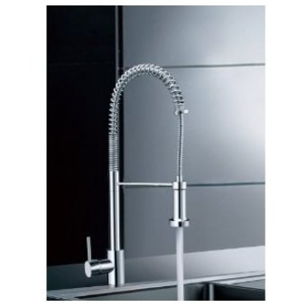 Single Handle Pull Down Pre-rinse Spring Kitchen Faucet with Swivel Spouts, Chrome