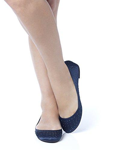 Women's Satin Rhinestone Ballet Flats by Dessy - Midnight - Size 11