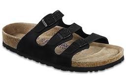 Birkenstock Women\'s Florida Soft Footbed Sandal,Black Nubuck,39 EU/8 B(M) US Women/6 D(M) US Men