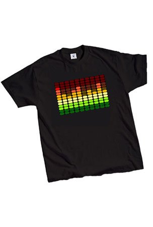 LED Sound Activated E-Q Raver T-Shirt (Large)
