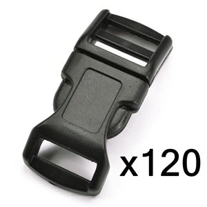 "Bluecell 120 PCS 1/2"" Black Contoured Side Release Plastic Buckles"