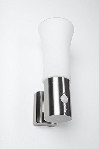 Lampe murale en inox avec détecteur de mouvement, Verre dépoli