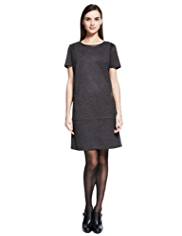 Autograph Faux Leather Panel Tweed Tunic Dress