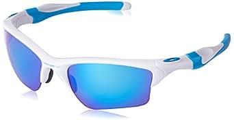 Oakley Men's Half Jacket 2.0 XL Polarized Iridium Rectangular Sunglasses, Polished White, 62 mm
