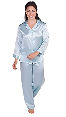 Womens Silk Pajamas Set Sleepwear - Morning Dew (Divine Blue, XS Petite) - Unusual Warm Romantic Pajama Clothing for Her; Something Special for Christmas Gifts for Women WS0001-DVB-XSP