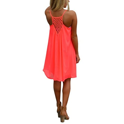 ISASSY Women's Summer Casual sleeveless Chiffon dress Evening Party Beach Short mini dress