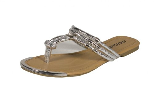 Soda Women'S Davina Cracked Diamond Gold Décor Flip-Flop Thong Flat Sandals, Silver, 7.5 M Us