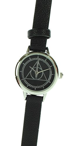 Official Ladies Harry Potter Deathly Hallows Symbol Logo Black Retro Wristwatch (Deathly Hallows Merchandise compare prices)
