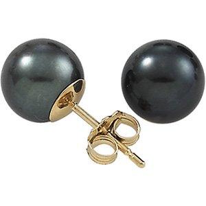 14K White Gold Akoya Cultured Black Pearl Ear: PAIR 7.00 MM
