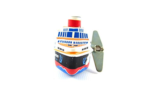 Wind up Small Tin Toy Cruise Ship Steam Boat from Japan