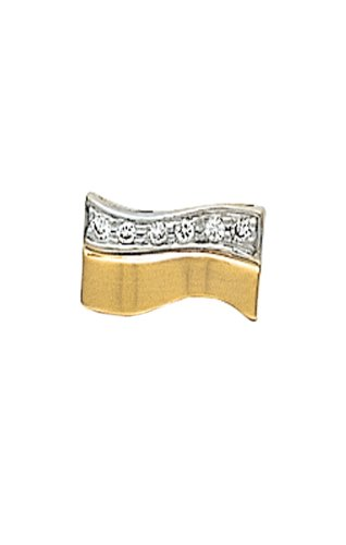 14K Yellow Gold Wave Tie Tac with Diamonds-86541