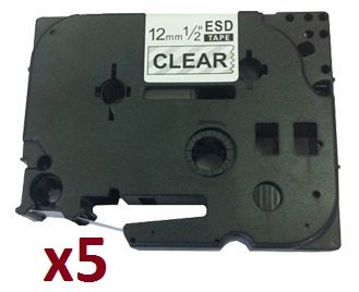 5-x-tz131-12mm-x-8m-black-on-clear-label-tapes-compatible-with-brother-p-touch-cinta-laminada-estand