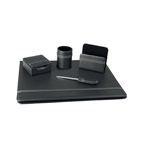 Set 5 pezzi regalo professionale per ufficio da scrivania similpelle (Nero)
