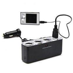 Usb Power Supply PDA Power 3-Way Car Cigarette Lighter Three Socket Splitter Dc 5v +Usb Charger Supply And Triple Socket Car Charger FREE 8 SUCTION CAR STAND
