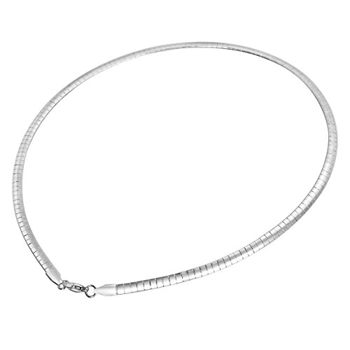 HOUSWEETY Stainless Steel Omega Silver Flat Chain Necklace 45cm(17 6/8