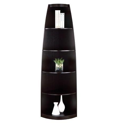 Skyler Cappuccino Finish Corner Bookcase Display Stand
