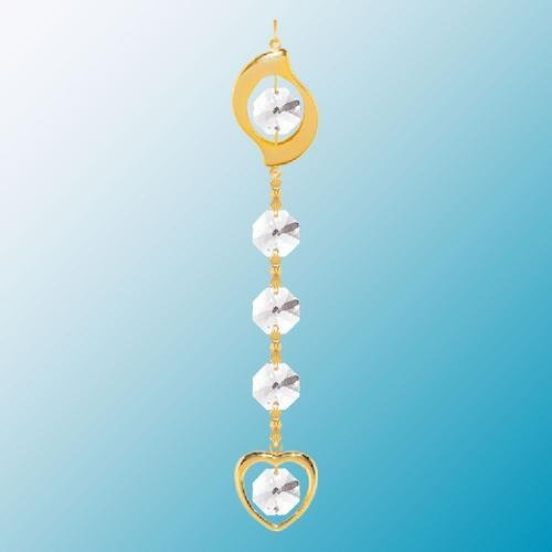 24K Gold Plated Hanging Sun Catcher or Ornament..... Leaf Topped Chain with Clear Swarovski Austrian Crystal