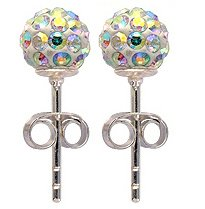 Silver Swarovski crystal earrings by BodyTrend © - 6MM - bling bling!! - silver studs - made with over 70 Swarovski stones - packed inside a lovely velvet pouche - Choose the colour & size from the menu below