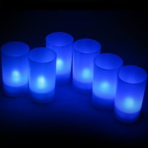 Daffodil Lec006B - 6 Blue Led Tealights - Flameless Candles With Holders