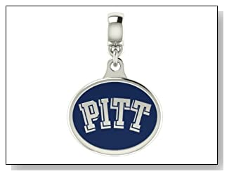 Pittsburgh PITT Panthers Collegiate Drop Charm Fits Most Pandora Style Bracelets Including Chamilia Kera Troll and More. High Quality Drop in Stock for Fast Shipping.