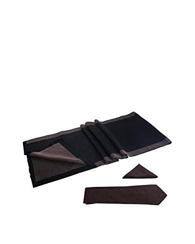 GIORGIO DI MARE Set: Sciarpa + Pochette da Taschino+ Cravatta [Marrone/Nero]