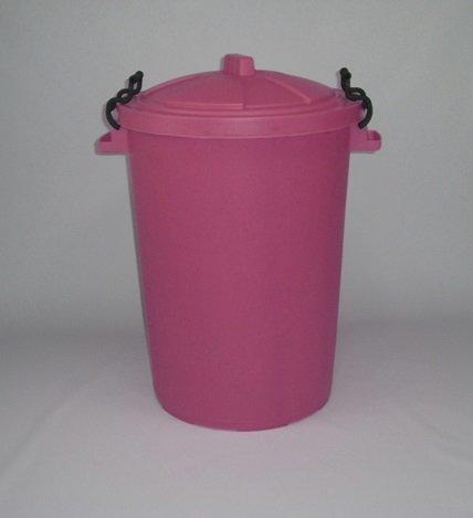 80/85 Litre Pink Dustbin/Bin/Refuse Bin With Lockable Handles. (made in the uk)