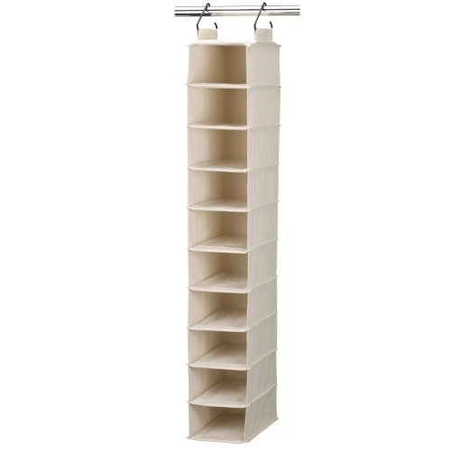 Household Essentials Cedarline Collection 10-Pocket Wide Hanging Shoe Organizer, Natural Cotton Canvas