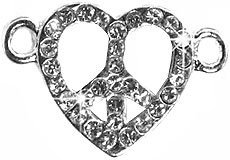 Undee Bandz Rubbzy Rhinestone Rubber Band Bracelet Charm Peace Sign Heart - 1