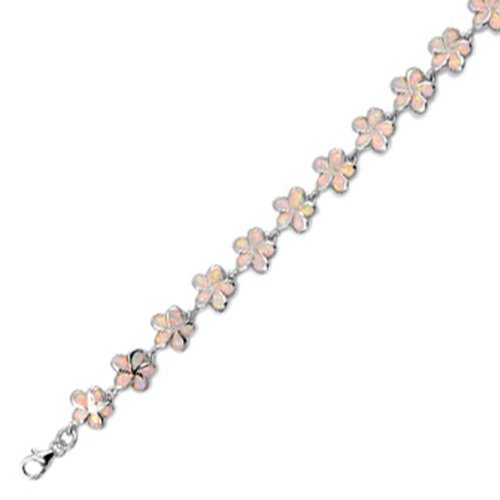Sterling Silver Bracelet in Lab Created Opal -12mm Plumeria - Length: 7.5 in