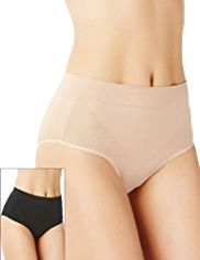 2 Pack Firm Control Santoni High Leg Knickers