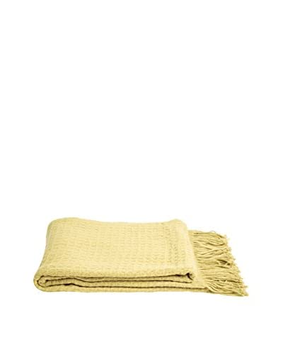 a & R Cashmere Waffleweave Throw, Green Olive