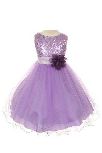Kid'S Dream Girl'S Lilac Sequin Bodice Mesh Girl Dress-Lilac-2 front-904372