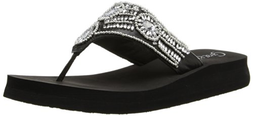 Grazie Women'S Cachet Flip Flop,Black,6 B Us back-555179