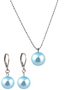 Necklace - Earrings Set - N502 - Glass Pearl Drop (10 mm) hung on 1 mm Ball Chain ~ Aqua Blue