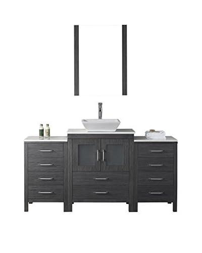 Virtu USA Dior 64 Single Bathroom Vanity Cabinet Set, Zebra Grey