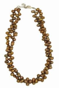 2 Strand Bronze Freshwater Pearl Necklace 18