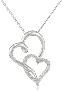 Sterling Silver Diamond Double Open Heart Pendant Necklace (1/10 cttw, I-J Color, I2-I3 Clarity), 18