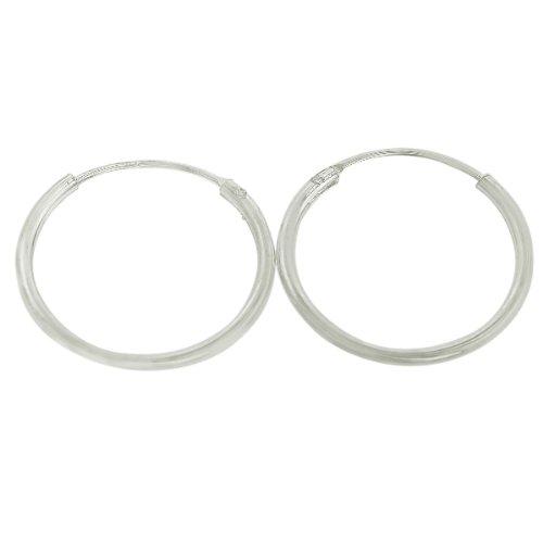Sterling Silver Endless 1.25mm x 14mm Gauge Plain Hoop Earrings
