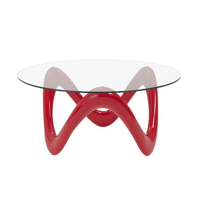 Eurostyle Chelsea Round 35x35 Glass Top Coffee Table in High Gloss Red & Clear