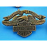 "Metal Enamel Pin Badge Brooch Antique Brass Finish Harley Davidson ""Live To Ride"""