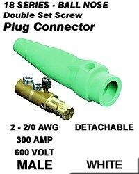 Leviton 18D22-W 18 Series Male Detachable Plug Double Set Screw Complete - White (Pkg Of 3)