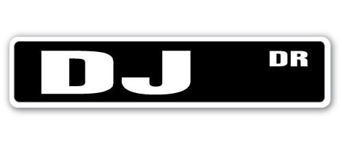 DJ Street Sign music disc disk jockey club dance hip hop disco