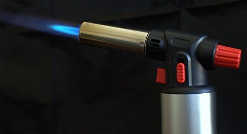 Inflame Butane Cooking Torch with Fuel Gauge for Home and Culinary Chefs. Blowtorch for Soldering, Brazing, Jewelry Making, Crafts, and FREE Creme Brulee Recipe Included!