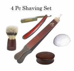 Wooden Straight Razor Shaving Kit