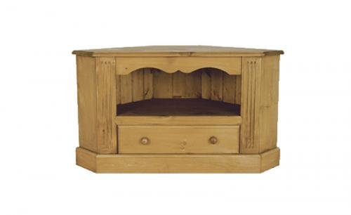 Wye Pine Wide Screen Corner TV Cabinet - Finish: Wax - Stain: Waterbased