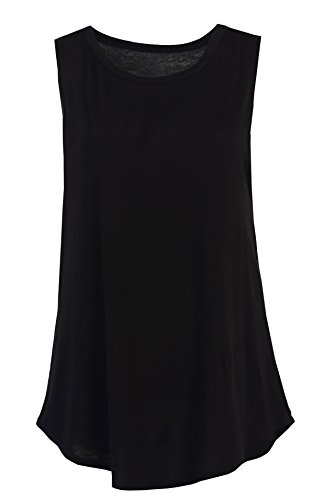 Flowy Relaxed Cool Loose Fit Tank Tops: Workout Rayon Knit Jersey Regular and Plus Size Blk XXL (Fitness Tops compare prices)
