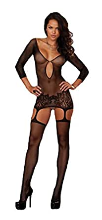 Dreamgirl Women's Istanbul Fishnet Garter Dress and Stockings, Black, One Size