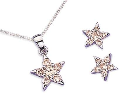Elina H Sterling Silver Star Crystal Jewellery Set