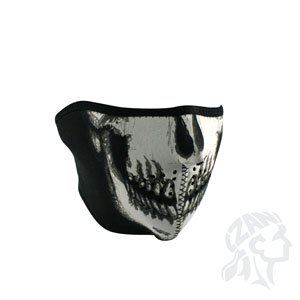 Tactical Airsoft Neoprene Skull Lower Face Mask Protection - Black & White
